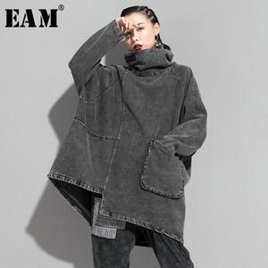 omen's Clothing [EAM] Loose Fit Black Denim Oversized Sweatshirt New High Collar Long Sleeve Women Big Size Fashion Spring Autumn 2020 1K...