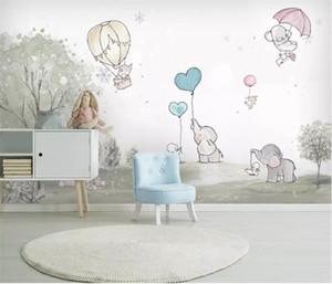 Coutume bande dessinée belle 3d papier peint Elephant Cartoon ours mur de fond animalerie ballon à air chaud fond d'écran 3D