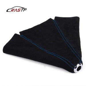 RASTP-Racing Car Universal Suede Leather Manual Gear Shift Knob Boot Gear Shift Knob Cover Collars Blue RS-SFN002