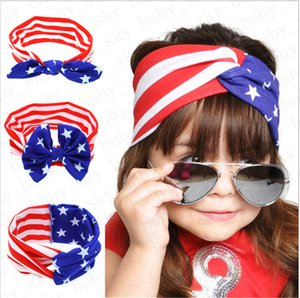 Kızlar Kafa Amerikan Bayrağı Tavşan Kulak Saç Bandı Milli Günü Bağımsızlık Günü Çizgili Yıldız Bebek Bow Headwrap Saç Aksesuarları D52704