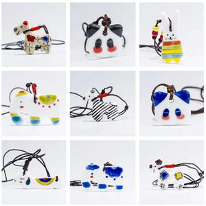 Jingdezhen cerâmica bonito cão bonito dos desenhos animados cão elefante tutu pingente de colar DJN478 ordem da mistura de jóias Colares do