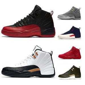 XII 12 di pallacanestro del Mens Scarpe da uomo 12s Midnight Black Flu gioco Michigan in taxi UNY Winterize Designer Trainer Sport Sneaker low cost Size 41-47
