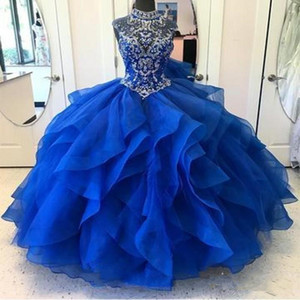 Royal Blue Quinceanera Dresses High Neck Crystal Beaded Bodice Corset Organza Layered Ball Gown Princess Prom Dress Lace-up