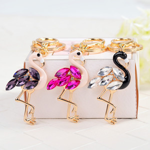 Flamingo Keychains Rings Rhinestone Fashion Car Key Charm Pendant Animal Keyrings Bag Jewelry Accessories Fashion Men Women Key Chain Holder