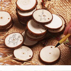 50шт рождественские украшения дерево DIY маленькие деревянные диски круги живопись круглые сосновые ломтики w отверстие n джуты партийные принадлежности 6 см-7 см
