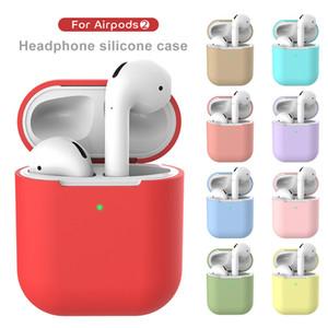14 colores para auriculares de casos para AirPods 2 auriculares de silicona cubrir para Apple auricular de 360 grados de protección de auriculares Shell