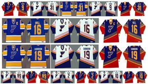 سانت لويس بلوز خمر جيرسي 10 إيسا تيكانن 19 SHANAHAN 2 AL ماكينيس 31 CURTIS JOSEPH 16 بريت هل اين Gretzky 99 ريترو CCM هوكي