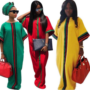 Casual tradicional africana vestido maxi largo verano Impresión Digital Media Manga de Dashiki Robe Vestidos Vestidos flojamente