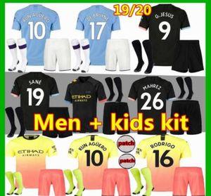 kit per bambini adulti 19 20 manchester soccer jersey city KUN AGUERO home BOY SET 2019 STERLING city MAHREZ DE BRUYNE G.JESUS kit bambino