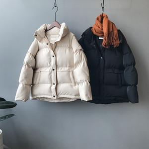Mooirue Roupa 2019 Outono-Inverno coreano do revestimento do revestimento Femme Ins algodão acolchoado quente Sólidos V191205 Brasão Cor manga comprida New Vestuário