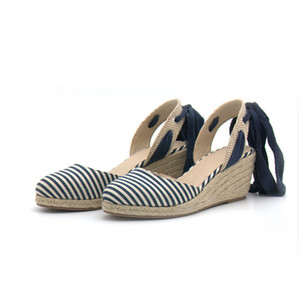 Femmes Stripe Casual Chaussures Paille Compensée Ankle Strap Plate-forme Chaussures Dame Espadrille Filles Sandal Wedge XW66