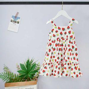 Imprimé été Filles Strawberry Sling Sweet Dress Vêtements enfants pour Porter anniversaire de belles vacances Vestidos