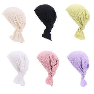 Women Bubble Wrinkled Turban Hat Pre Tied Tail Elastic Beanie Scarf Head Wrap Bright Solid Color Slip-On Chemo Cap Cover