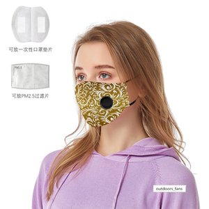 Plain element printed cloth mask dust-proof and haze-proof cotton mask with breathing valve PM2.5 filter can be placed