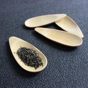 vendite calde carino a forma di goccia forma di semi di melone Pala regalo tè verde fatto a mano Mini Bamboo Tea scoop Kung Fu Tea Spoon nero Per Amici 1PC