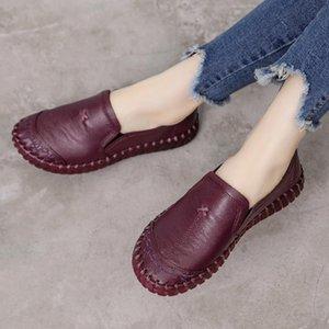 GKTINOO 2019 Moda Calçados Femininos Genuine Leather Loafers Mulheres Casual sapatos macios sapatos confortáveis Mulheres