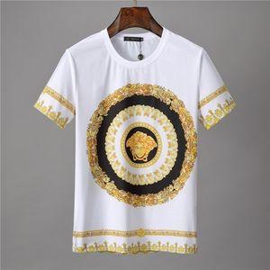 Homens s de manga curta Designer padrão Medusa Imprimir homens brancos s em torno do pescoço T-shirt