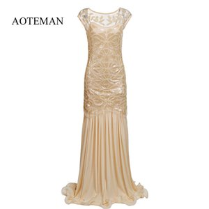 Aoteman verão dress mulheres moda sexy vintage de malha de lantejoulas longo dress elegante feminino party club vestidos vestidos plus size y190507