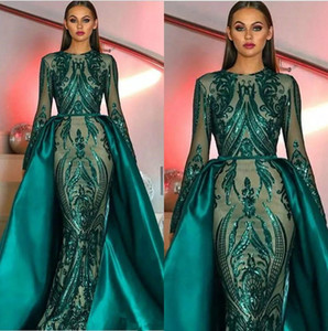 Luxe Musulman Vert Foncé Manches Longues Paillettes Sirène Robes De Soirée 2019 Illusion Plus La Taille Formelle Party Bal Robes Avec Jupe Amovible