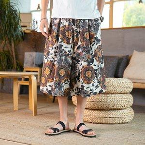 iiDossan japonesa Streetwear verano Becerro Leng Pantalones Hombre impresión de la flor de Harajuku Joggers pantalón mujeres de la nueva manera de HIPHOP