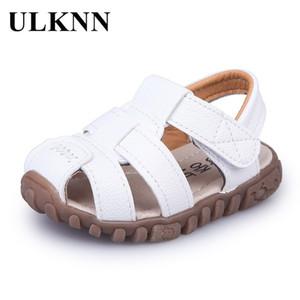 Ulknn الصيف الأطفال أحذية قريبة تو طفل الفتيان الصنادل الجلدية القصاصات تنفس شاطئ sandalia infantil الاطفال حذاء الراحة Q190601