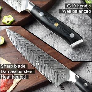 YKC Горячий Damascus Нож поварской VG10 Профессиональный кухонный нож Кливер Готовим инструмент Изысканный Сливовый Rivet G10 Handle с ножами крышкой
