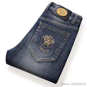 Ая донг вышивка высокого класс джинсы мужского случайный стрейч прямая трубка тонких джинсы мужские Внешнеторговые