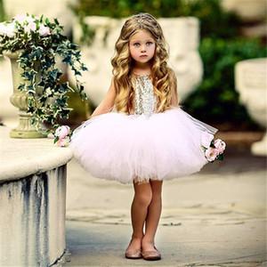 Ins Ballet Bebés Meninas Sequins Princesa Vestidos menina Tutu vestido de gaze Crianças Backless bowknot Summer Party Dresses favor do casamento Roupa E22705