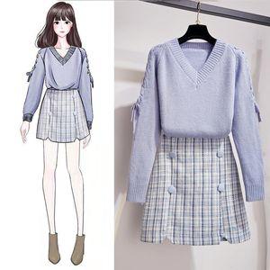 ICHOIX Ekose Mini Tatlı 2 parçanın kıyafetler femme kış kazak seti Y200110 Kore tarzı kadın 2 parçalı set kız öğrenci olağan biçimde ayarlamak etek