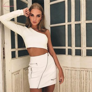 Summer 2019 Sexy Woman Short T Shirt One Shoulder Long Sleeve Tank T Shirts Female Fashion Slim New Ladies White Tops