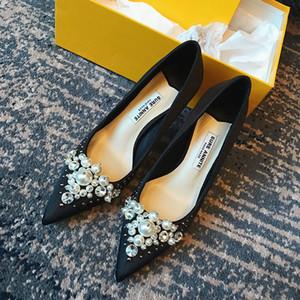 Ücretsiz kargo ücreti kadınlar pompaları siyah saten inciler sivri burun yüksek topuklu gelin düğün ayakkabı pompaları gerçek fotoğraf