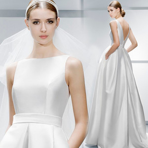 Backless Simple Sexy 2019 Wedding Dresses Scoop A-line Satin Noble Bridal Dresses Cheap Elegant Wedding Gowns