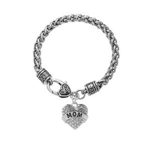 قلب قلادة سحر أساور أمي ابنة أفضل أصدقاء الأسرة أفراد الفضة Palted سلسلة أساور الأزياء والمجوهرات