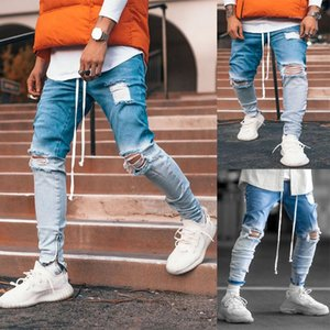 Mens Ripped Denim Pants Slim Jeans Skinny Light Blue Pencil Pants High Streetwear Hip Hop Casual Street Mens Summer Clothing Plus Size