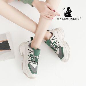MALEMONKEY 012952 Mujer casual zapatillas de deporte 2020 de Primavera clásicas corrientes respirables del zapato femenino Chaussures Platforml zapatos de las mujeres