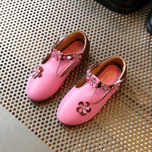 Girls Pu Leather Shoes Princess Shoes With Floral Korea Party Wedding Dress Girl Children's Single Size 21-36 D431