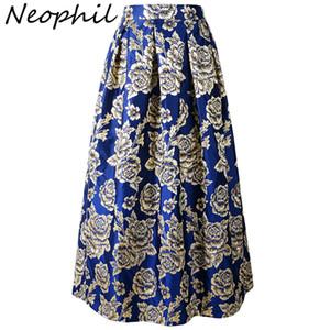 Neophil 2019 черный роскошный цветочный узор вышивки женские длинные юбки Maxi High Wasit плиссированные 100 см дамы Falda Larga Ms0632 Y19043002