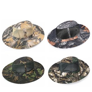 Unisex Maple Leaves Pattern Camouflage Outdoor Sports Caps Breathable Bonnie Hat Bucket Hat with Wide Brim Sunshade Hiking Caps