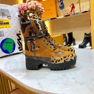 De calidad superior de lujo de las mujeres de cuero Nobel Plataforma Desert Boot Invierno de la señora del cuero de lujo zapatos de mujer 5cm gruesos del talón suela de goma Botas