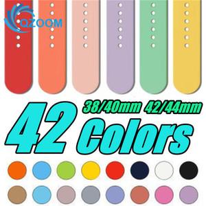 Nuevo 42 colores deporte del silicón de Bandas de reemplazo para correa de reloj pulsera con los adaptadores Accesorios 38mm 40mm 42mm 44mm correa de reloj