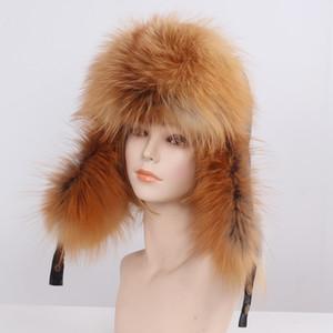 Mulheres de inverno cap pele real fox / pele de guaxinim chapéu de pele com caudas de pele nova moda russa protetor de orelha feminino marca chapéu