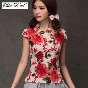 Tradicional China delgada Qipao de algodón de lino blusa de las mujeres de la vendimia oblicuo de la solapa Botones cheongsam camisa de manga corta Qipao Tops
