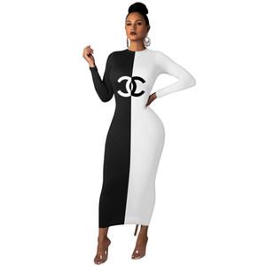 Luxe femmes Designer Contraste Robes Couleur manches longues Vêtements de mode Casual Crew Spring Neck Vêtements S-2XL Vente Hot Robes 2677