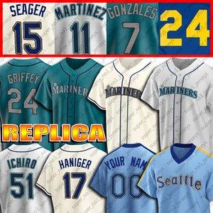 24 Ken Griffey Jr. Jersey 34 Felix Hernandez Trikots 51 Suzuki Ichiro Mitch Haniger Edgar Martinez Seager Gonzales Custom Baseball Jersey