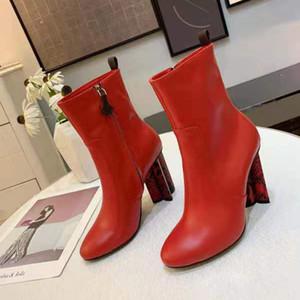 10 CM Snakeskin Korn-Absatz-Frauen-Schuh-seitlicher Reißverschluss Lammfell Mode Schuhe Designer-Stiefel 35 bis 40