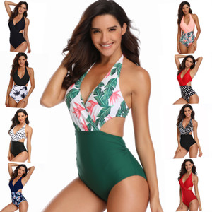 13 Arten Sommer Frauen Einteilige Anzug Badeanzug Sexy V-Ausschnitt mit BH Gepolsterten Badebekleidung für Strand Tragen Sie Kleidung