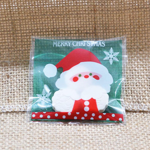 100Pcs Christmas Cookie Candy Package Regalos Bolsa DIY Autoadhesivo OPP Bolsas Para Navidad Fiesta en casa Embalaje Decoración Hornear Suministro