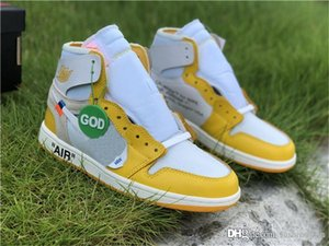 2020 Released Off Authentic White Air 1 High OG Canary Yellow Virgil Ablohs Retro Chicago UNC Powder Blue 1S Basketball Shoes Man Black Tag