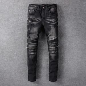 2020 pantalones vaqueros de diseñador para hombre Coconut Tree Print Ripped para hombre pantsDistressed Zipper Slim Jeans Diseñador de la marca para hombre jeans pour hommes