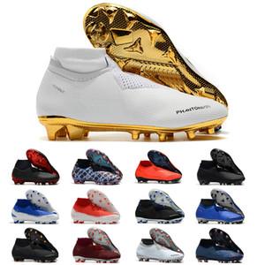 Nike football boots Phantom VSN Vision Elite DF FG morsetti di calcio CR7 Original New Lights Under The Radar completamente carica Mens alla caviglia alta Bianco